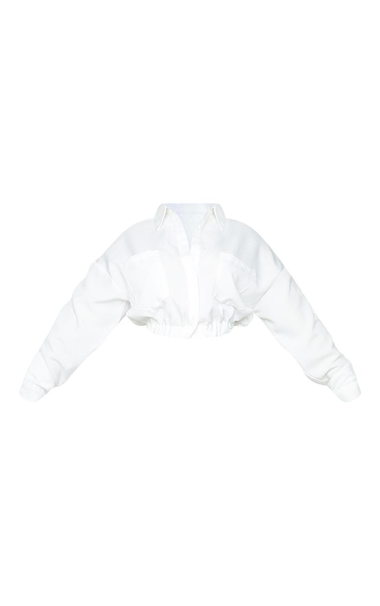 Plus White Backless Cropped Pocket Shirt 5