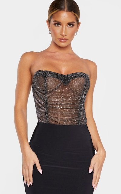 Black Sequin Mesh Bandeau Bodysuit