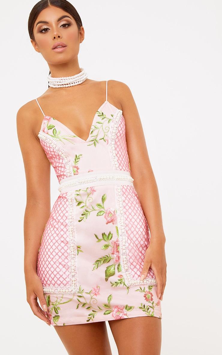 Premium Blush Embroidered Lace Bodycon Dress 2