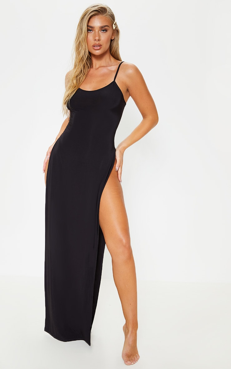 Black Slinky Maxi Beach Dress 1