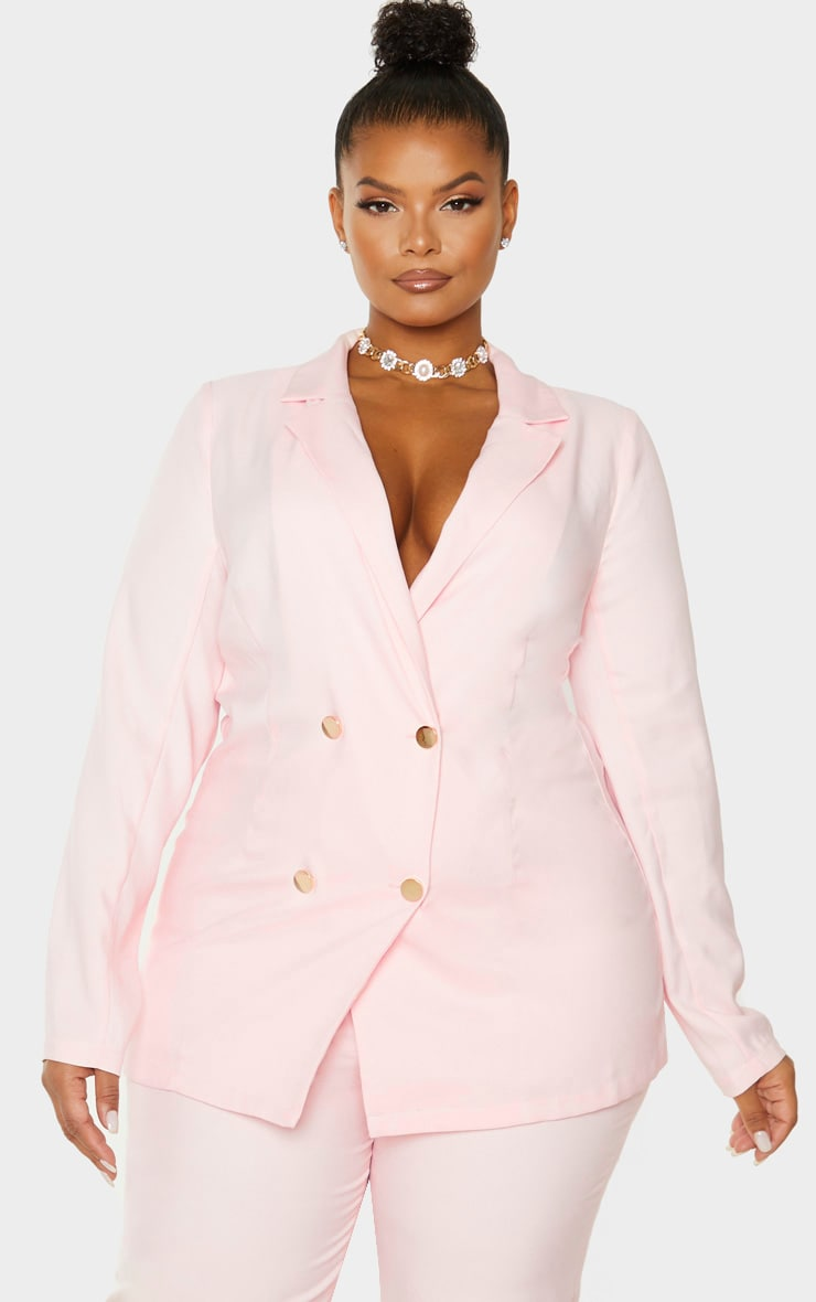 Plus Dusty Pink Gold Button Blazer 1