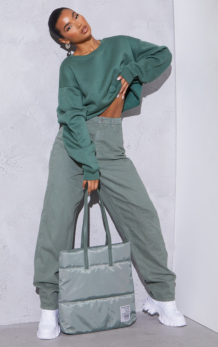 RENEW Green Oversized Crop Sweater 3