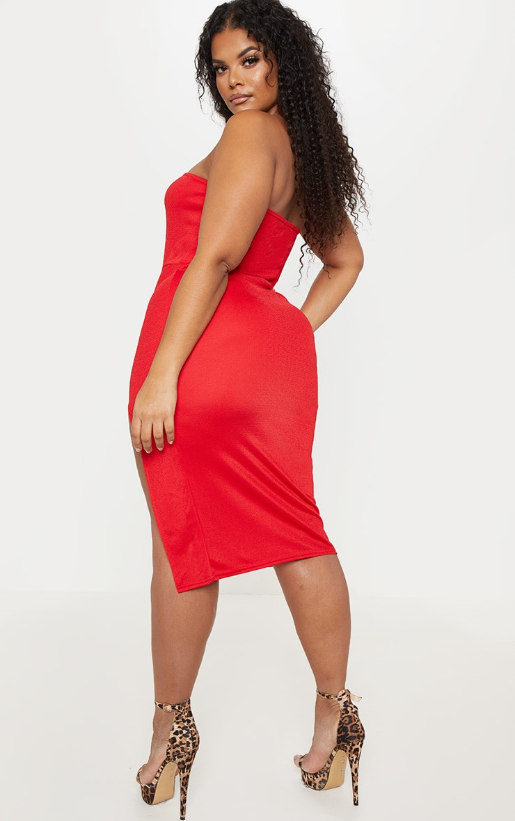 Plus Red Crepe Bandeau Split Front Midi Dress 2