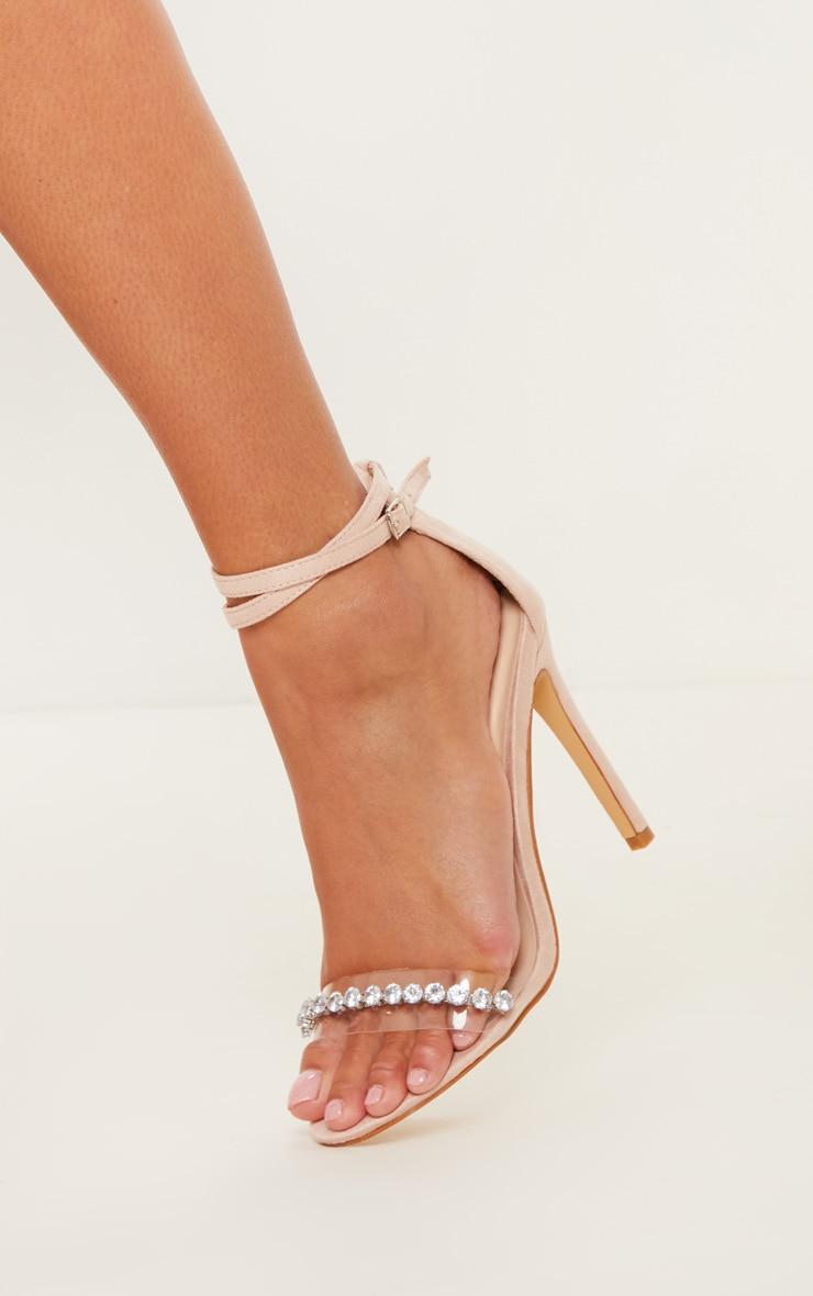 Nude Jewel Trim Clear Strap Sandal 2