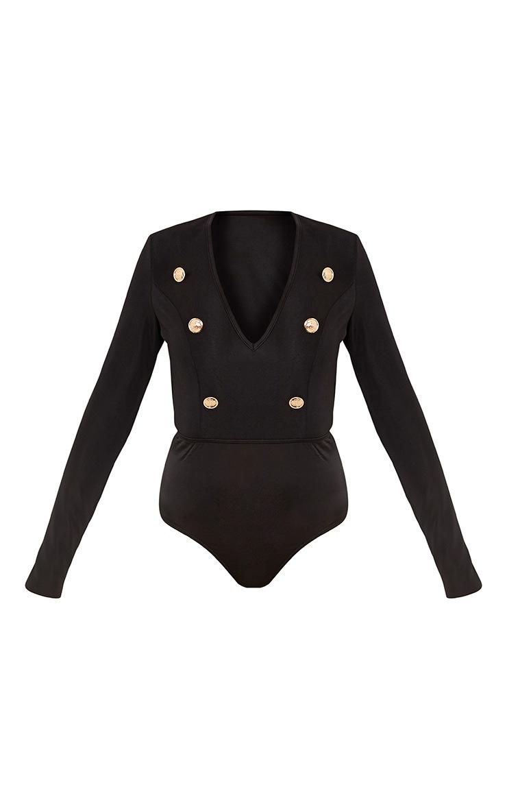 Lilie Black Military Style Button Longsleeve Bodysuit 3
