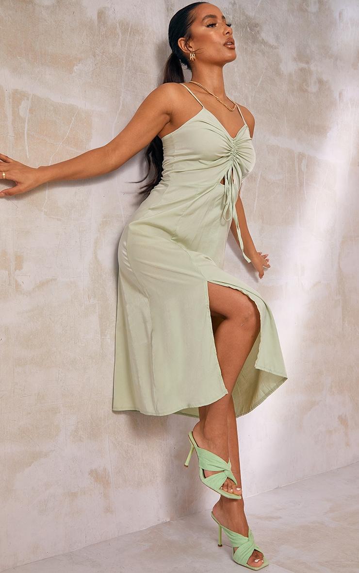 Sage Green Cotton Ruched Bust Split Detail Strappy Midi Dress 3