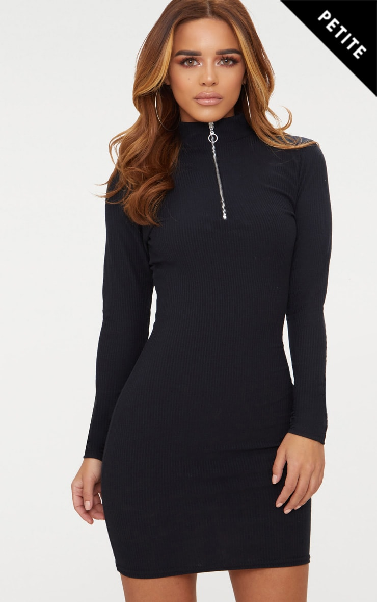 Petite Black Ribbed Zip Detail High Neck Bodycon Dress