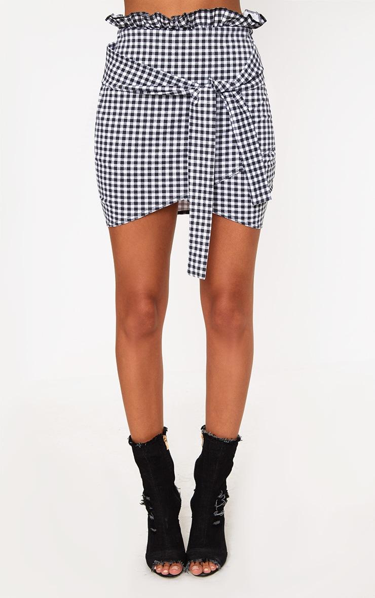 Black Gingham Paperbag Waist Wrap Hem Mini Skirt 2