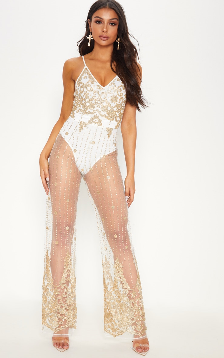 White Glitter Strappy Jumpsuit