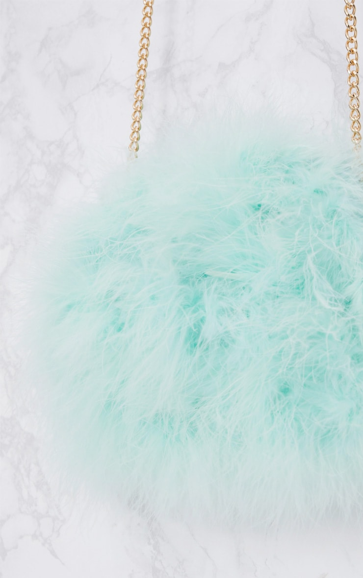 Mint Marabou Feather Clutch Bag 4