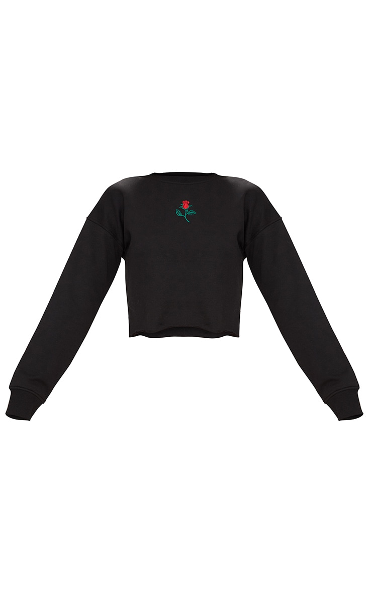 Black Rose Embroidered Crop Sweater 3