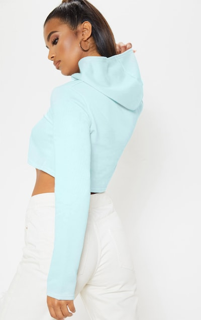 Basic Baby Blue Crop Hoodie