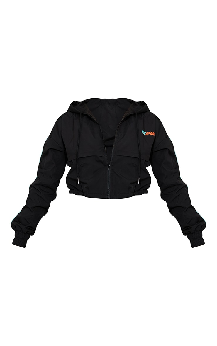 Black Piping Cropped Matte Windbreaker  5