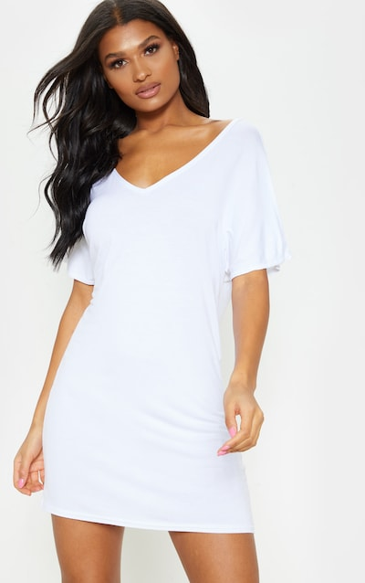 9d487d06e12b Basic White V Neck T Shirt Dress