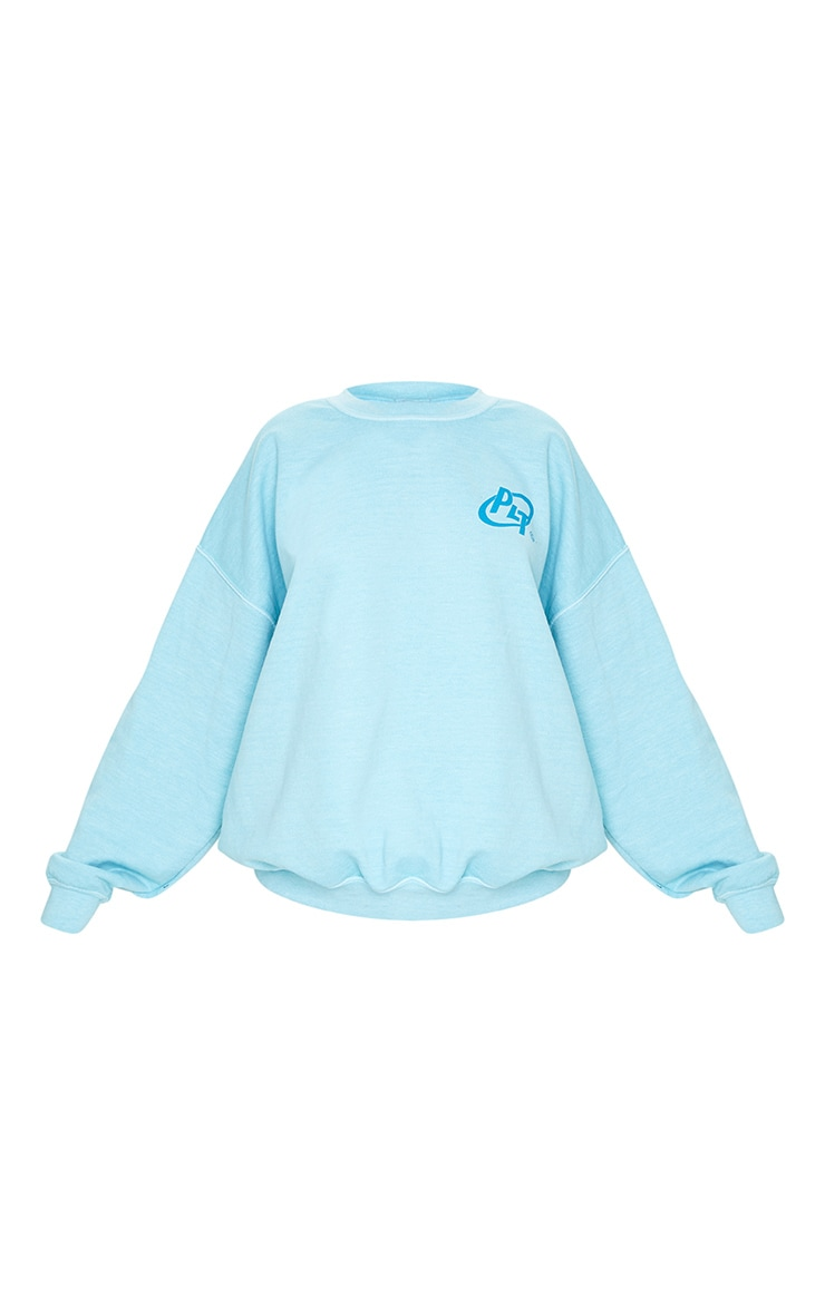 PRETTYLITTLETHING Blue Logo Washed Sweatshirt 5