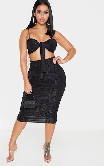 Shape Black Glitter Ruched Detail Midi Skirt