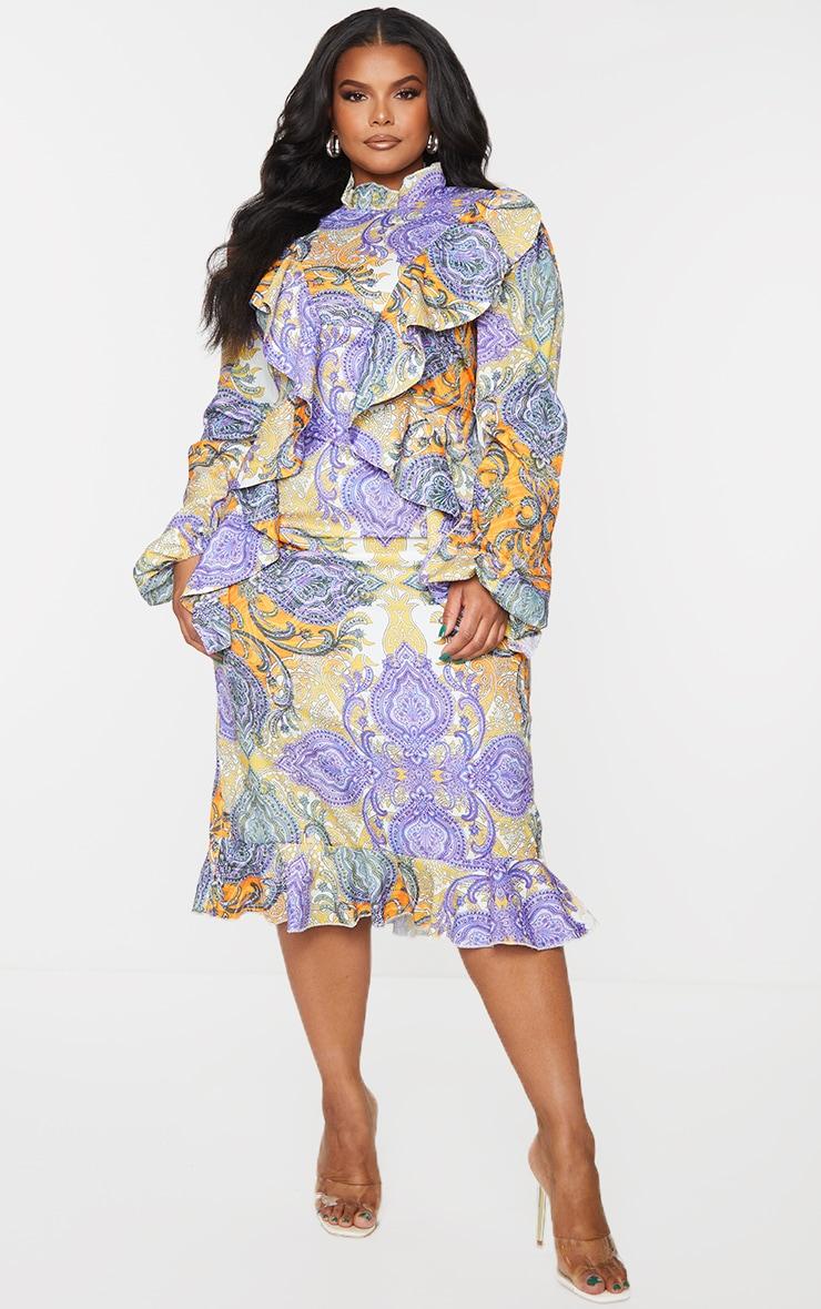 Plus Multi Paisley Printed Frill High Neck Midi Dress 1