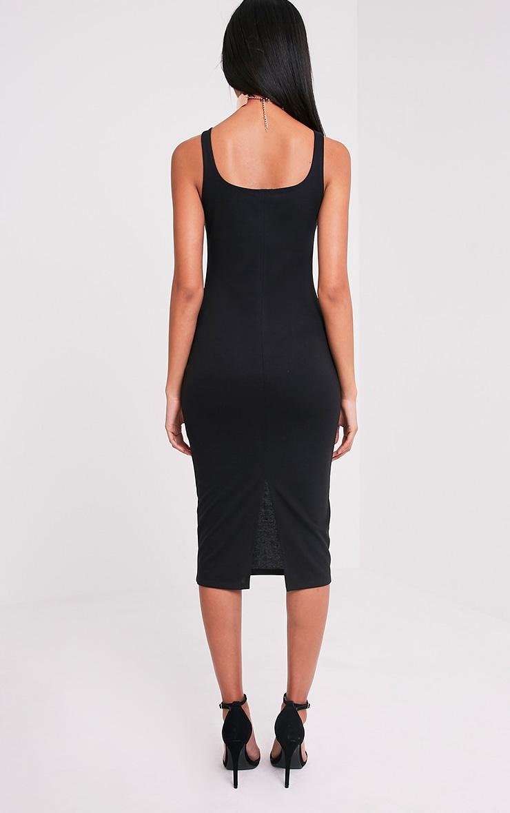 Savana Black Square Neck Midi Dress 2