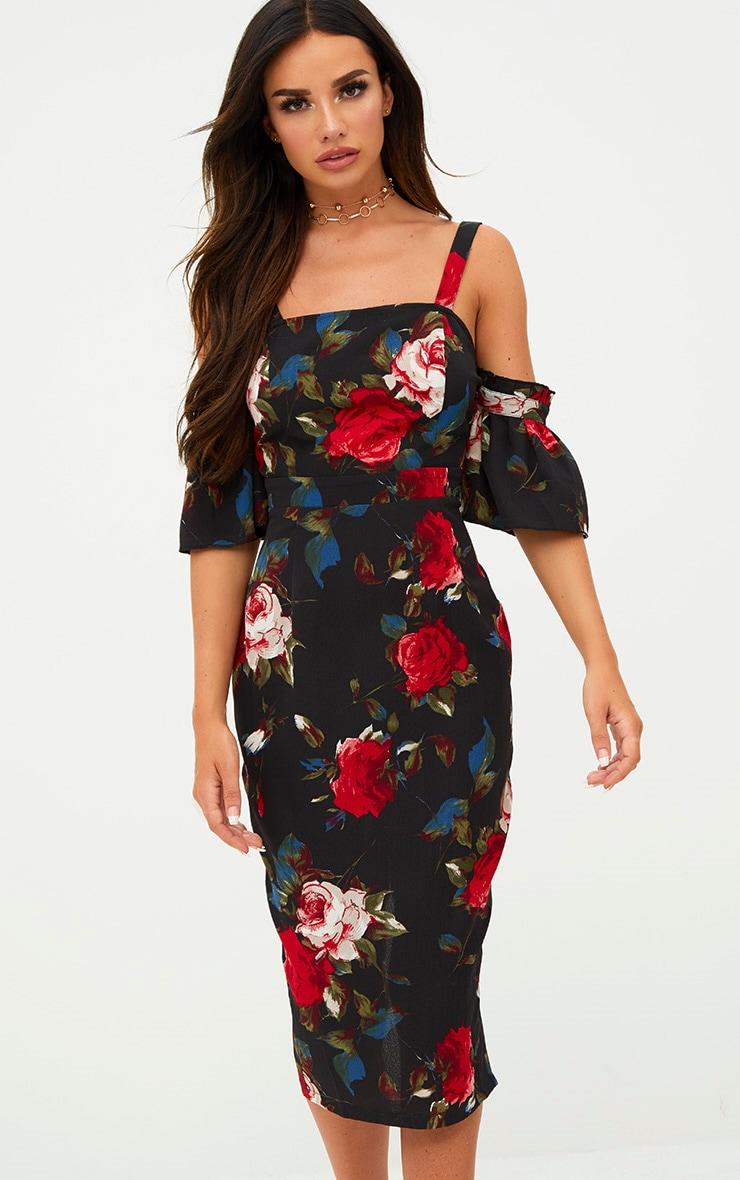 Black Floral Cold Shoulder Midi Dress 4