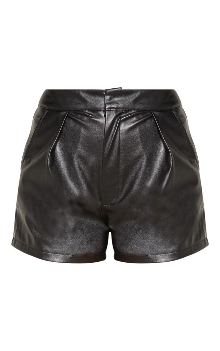 Black Faux Leather Short 3