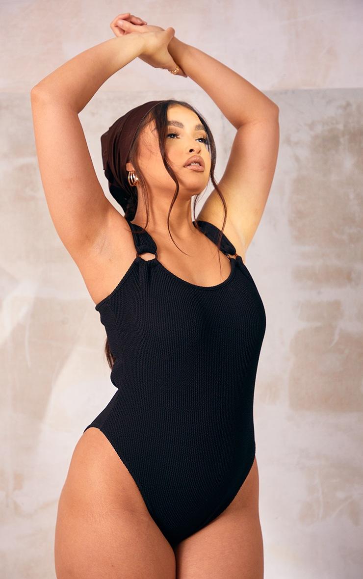 Plus Black Crinkle Texture Ring Detail Swimsuit 3
