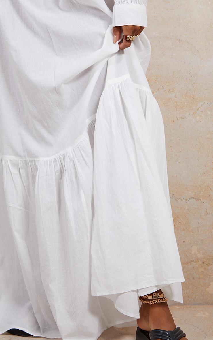 White Linen Feel Maxi Skirt 4