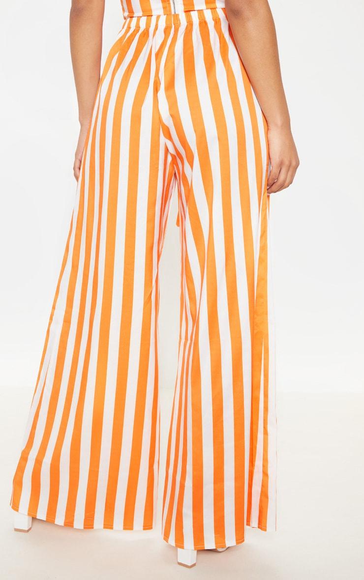Bright Orange Stripe Wide Leg Pants 4