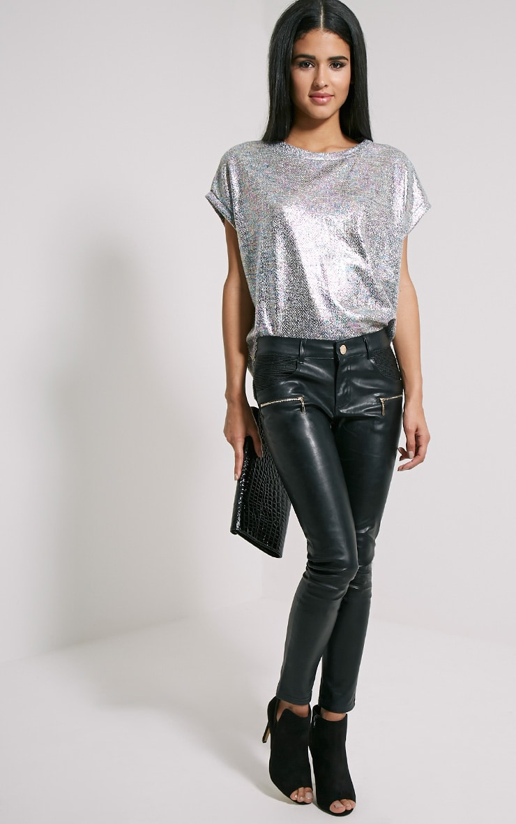 Sabina Metallic Hologram Print Oversized T-Shirt 3