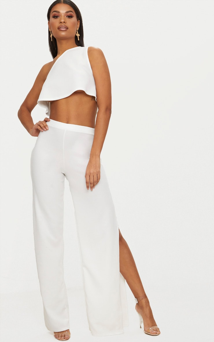 White Split Detail Wide Leg Trousers 1