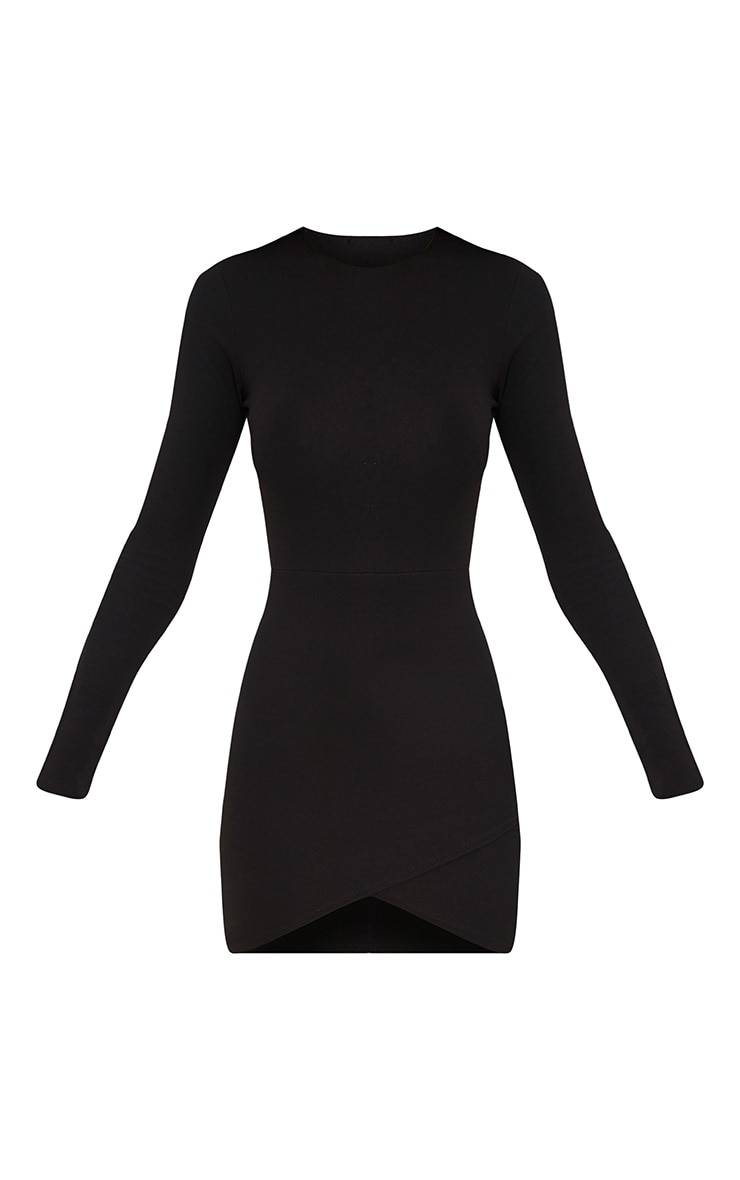 Black Long Sleeve Wrap Skirt Bodycon Dress 3