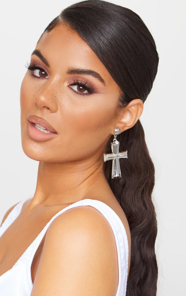 Silver Chunky Cross Earrings 1