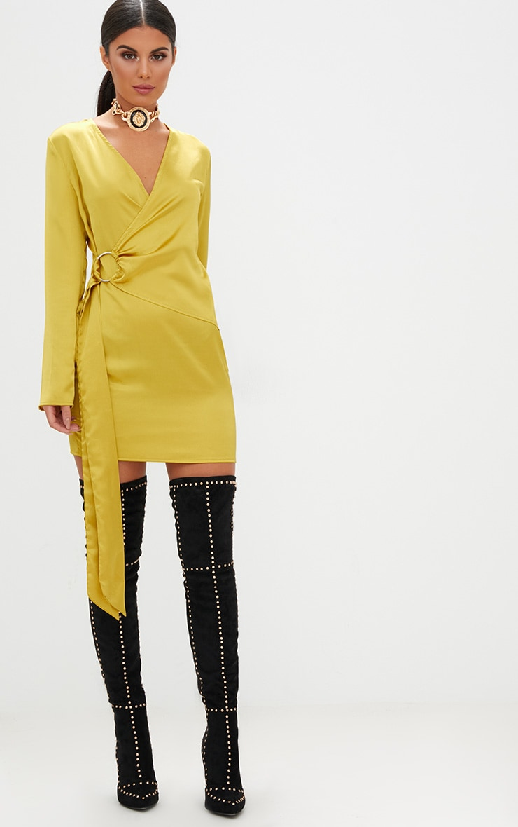 Dark Lime Overlay Wrap Ring Detail Shift Dress  4