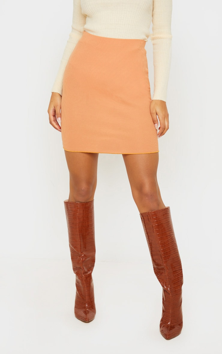 Camel Rib Lettuce Hem Mini Skirt 2