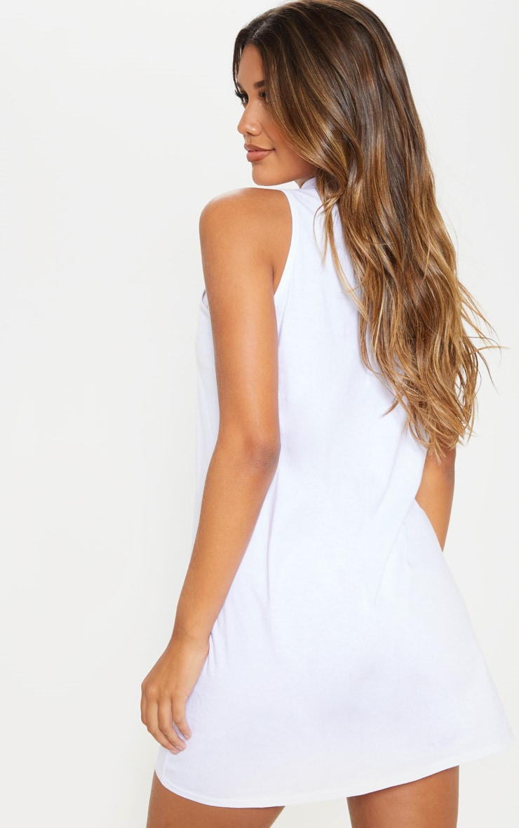 White Sleeveless Oversized T Shirt Dress 2