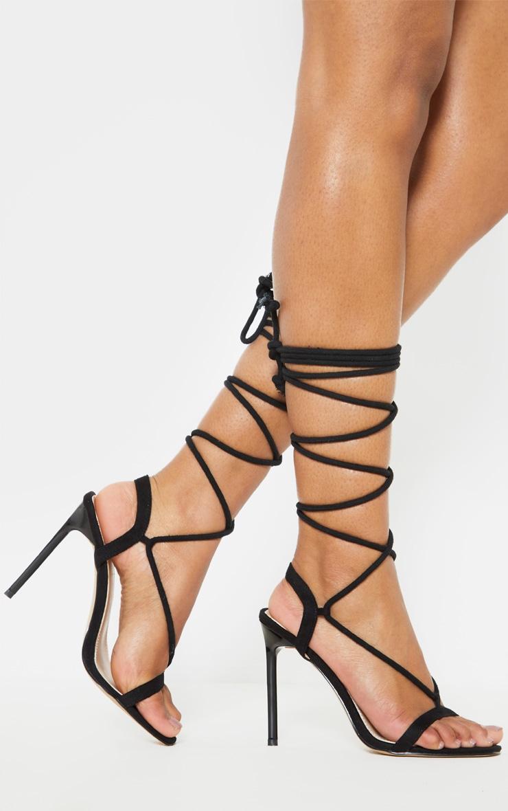 Black Rope Ankle Tie Heeled Sandal 1