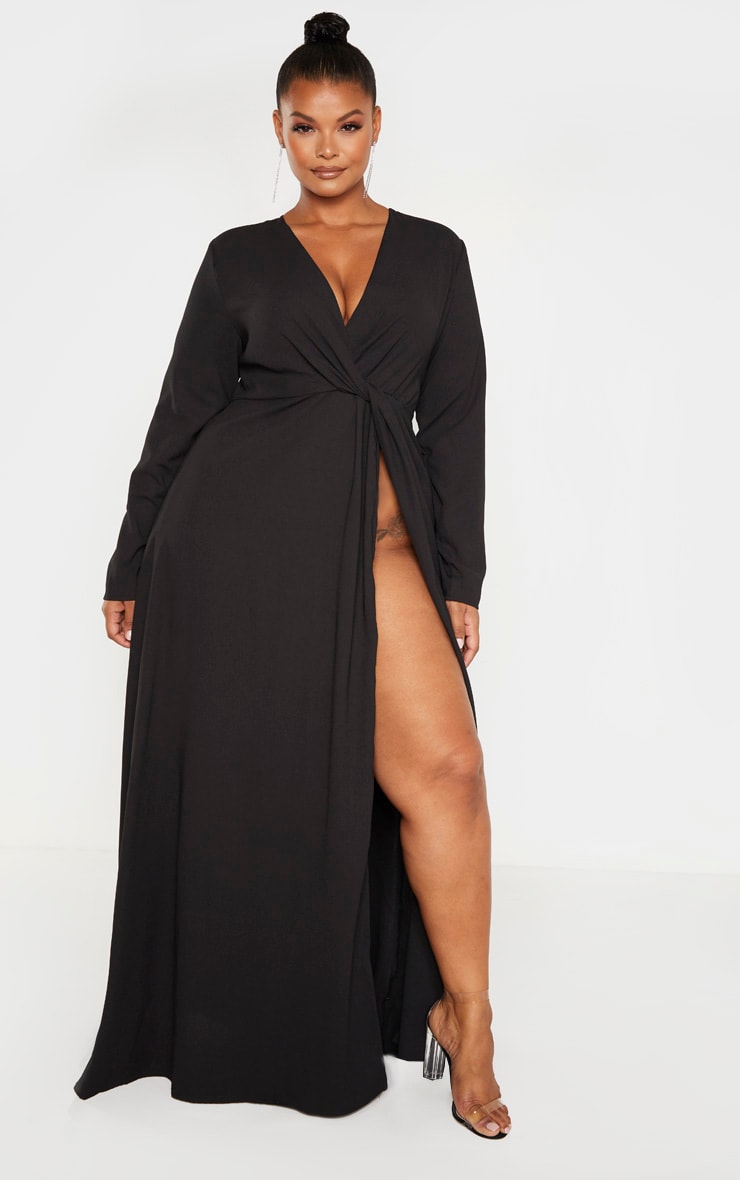 Plus Black Twist Front Maxi Dress by Prettylittlething