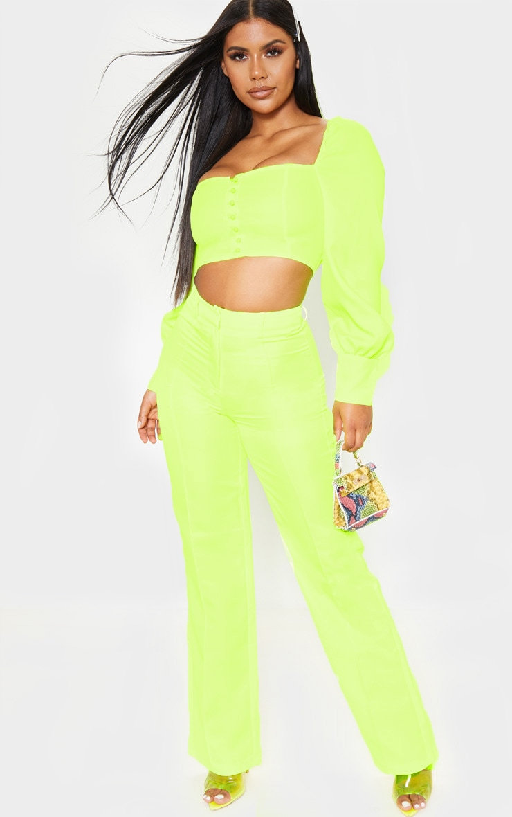 Neon Yellow Anala High Waisted Straight Leg Pants 1