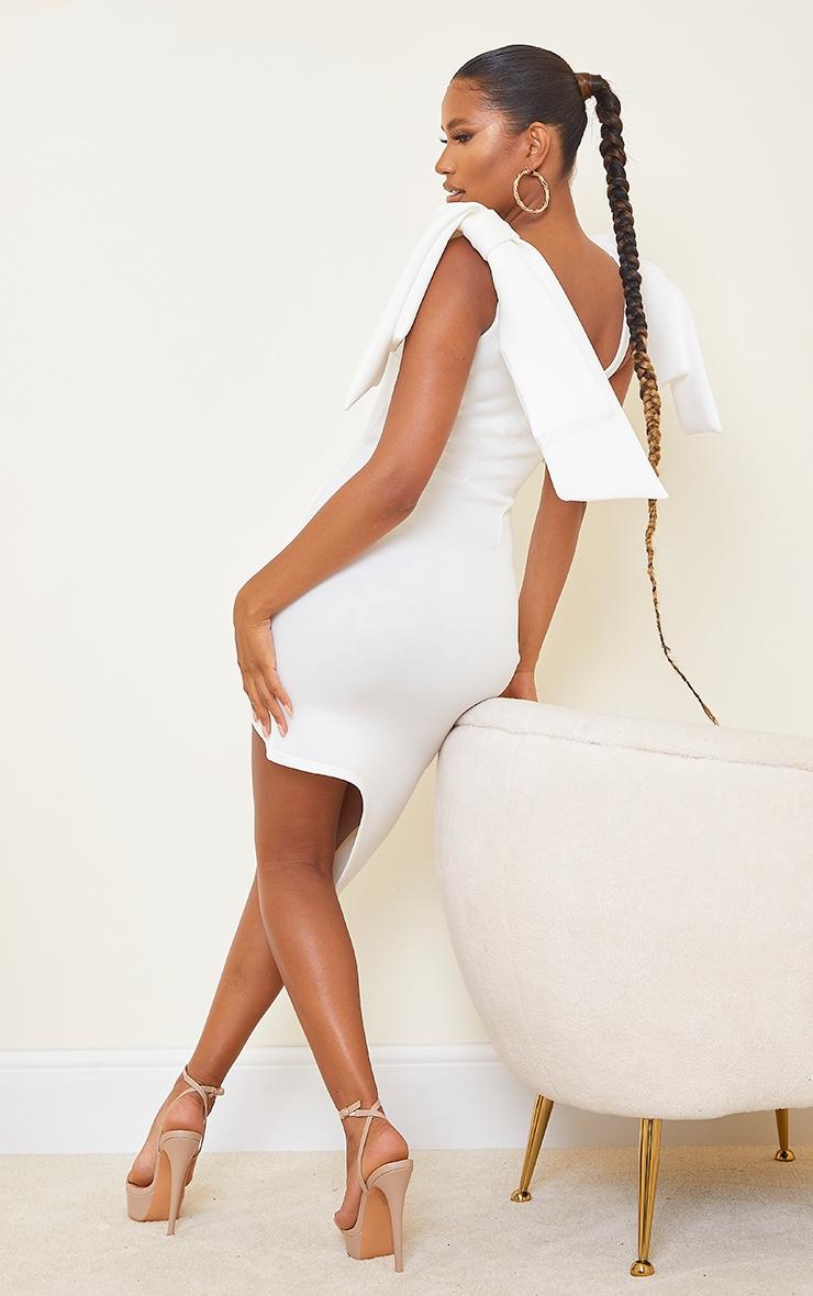 White Bonded Scuba Bow Shoulder Ruched Midi Dress 2
