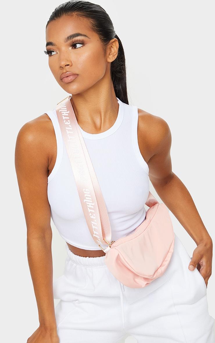 PRETTYLITTLETHING Baby Pink Nylon Cross Body Bag 1