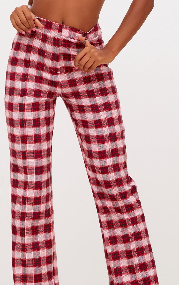 Red Check High Waisted Trousers 4