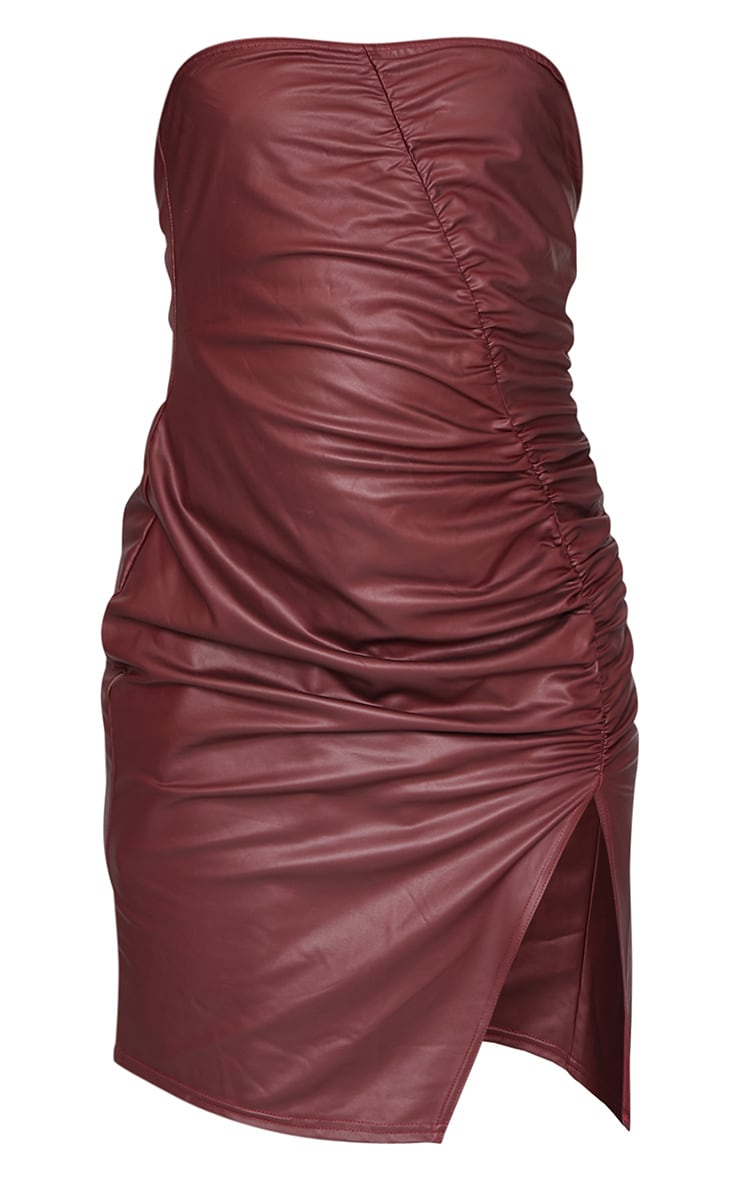 Plus Burgundy PU Ruched Front Bandeau Bodycon Dress 5
