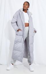 Tall Grey Longline Puffer Coat 1