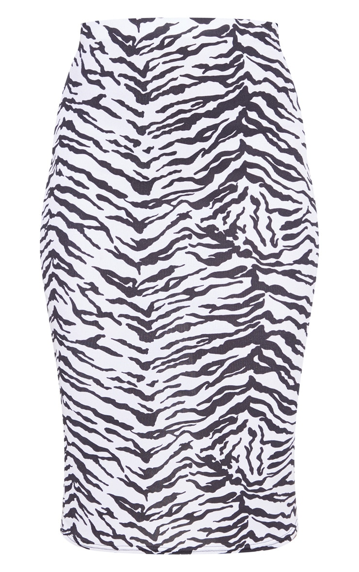 Monochrome Zebra Print Ribbed Midi Skirt  3