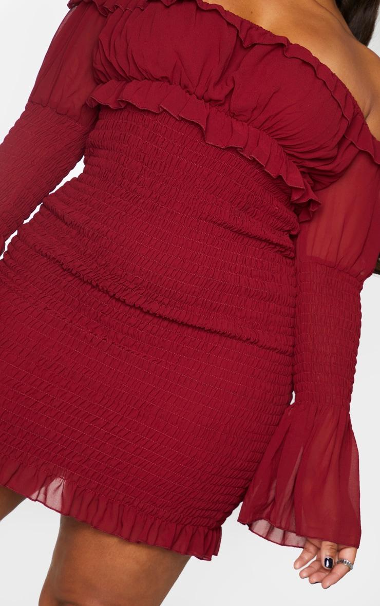 Plus Burgundy Chiffon Shirred Bodycon Dress 4