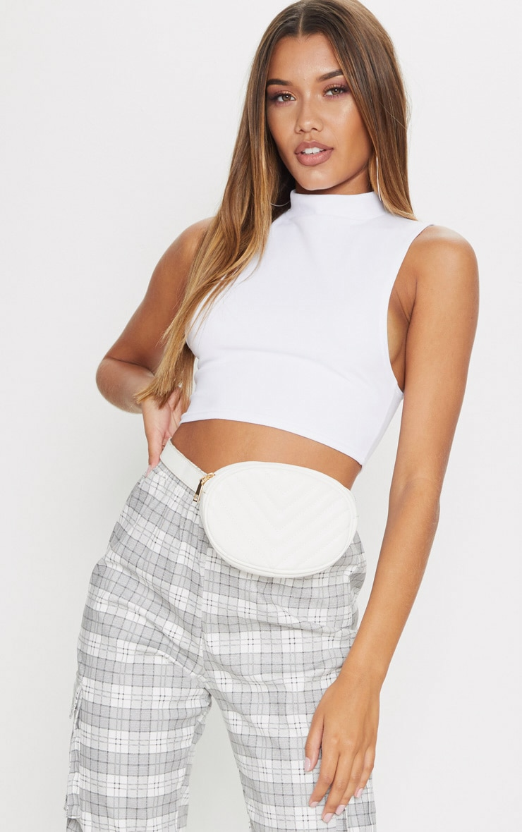 White High Neck Sleeveless Crop Top 1