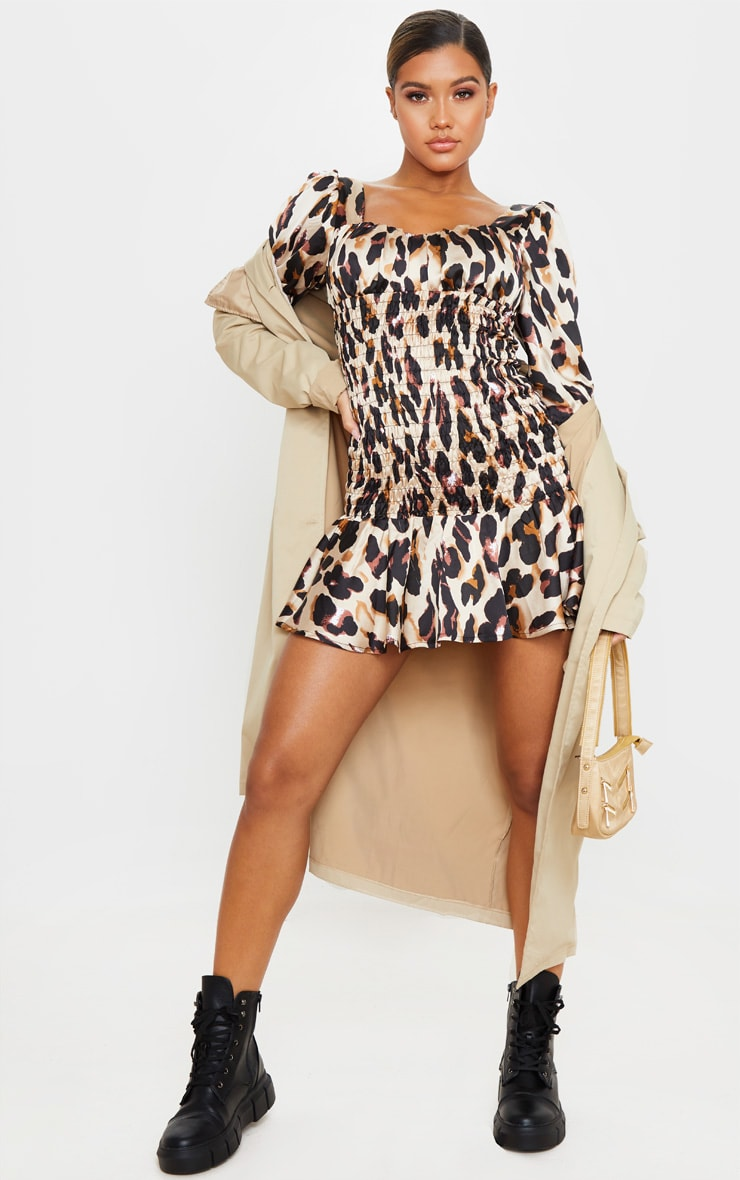 Brown Leopard Print Shirred Long Sleeve Bodycon Dress 4