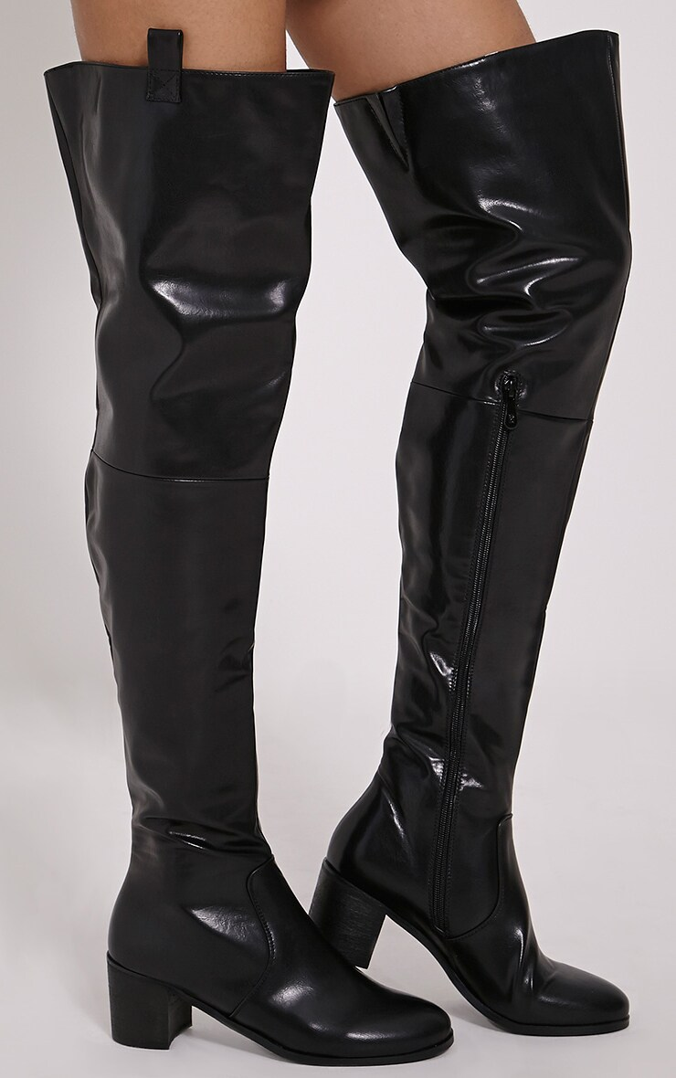 2346909b872 Cally Black Faux Leather Thigh High Over Knee Boots image 1