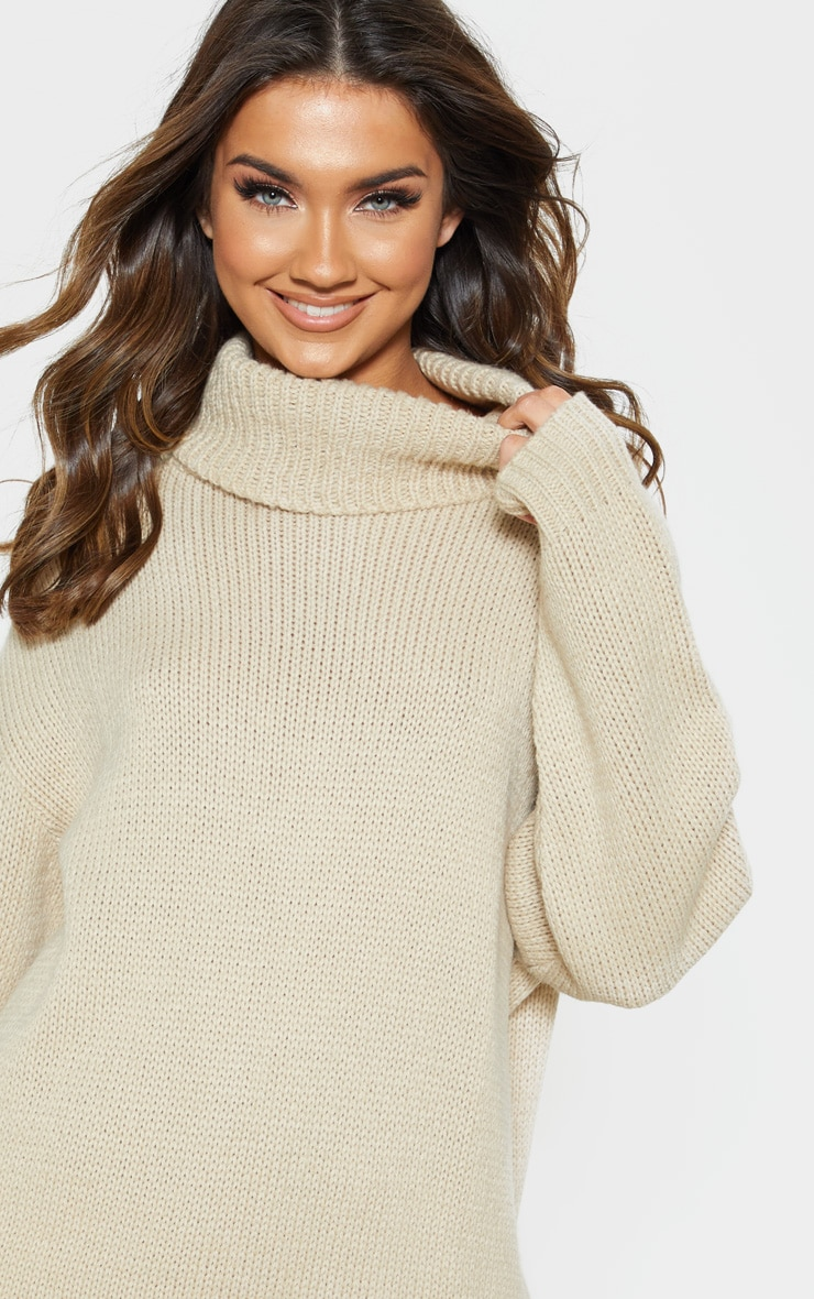 Stone High Neck Fluffy Knit Jumper  4