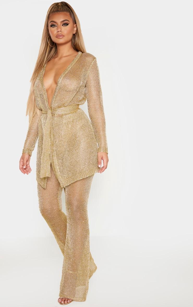 Pantalon flare en maille métallisée dorée 1