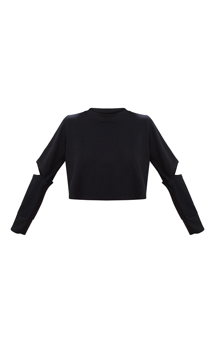 Black Cut Out Sleeve Sweater 3